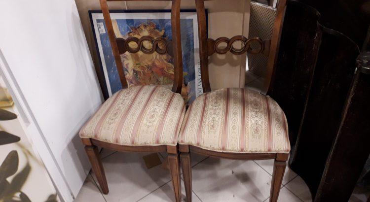 set 4 sedie in stile stoffa beige a fiori