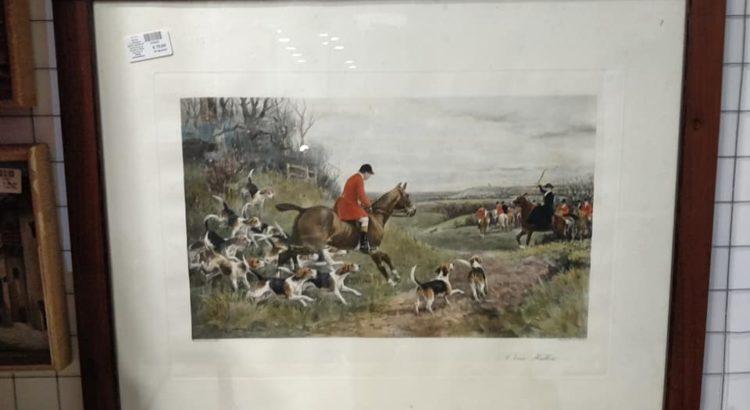 quadro scena di caccia