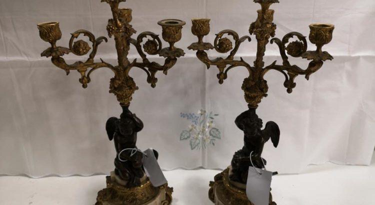 coppia candelieri ottone bronzo