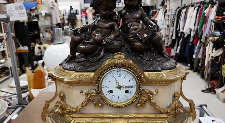 orologio da tavolo a pendolo marmo bronzo ottone